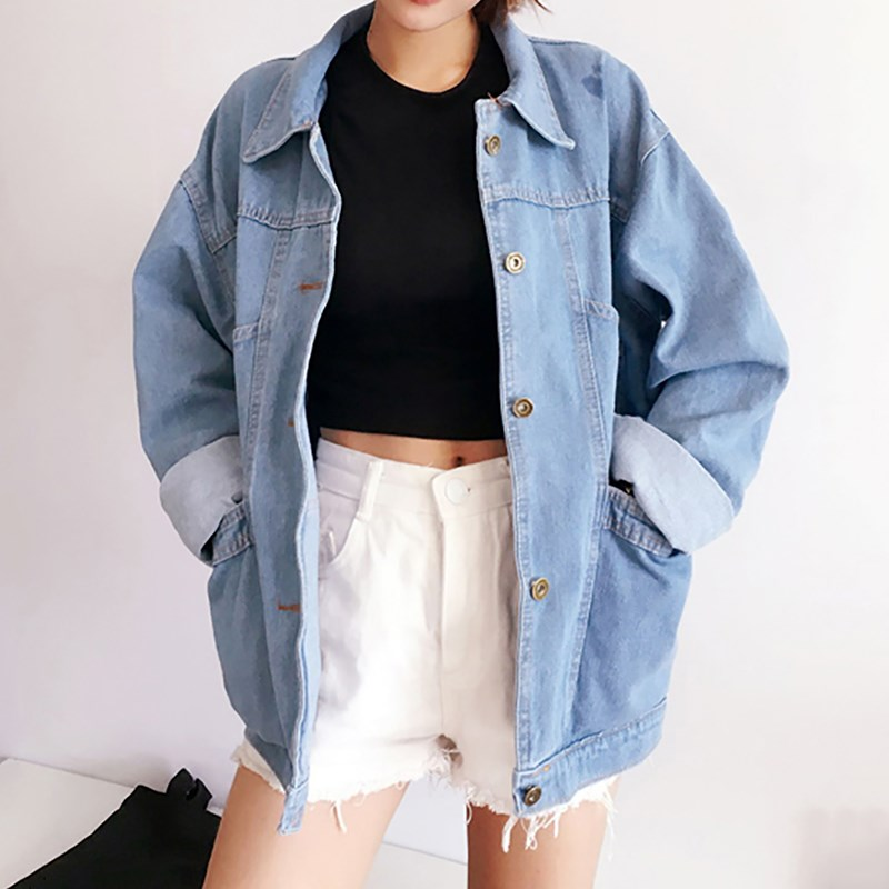 Autumn Harajuku Light Blue   Basic   Denim Coat Turn-Down Collar Long Sleeve Loose Pocket Casual Jeans   Jacket