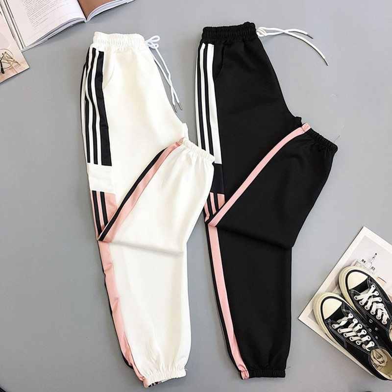 Pantalones de rayas blancas de verano, pantalones Harem, pantalones femeninos Harajuku Hip Hop, pantalones deportivos de cintura alta, pantalones sueltos para correr