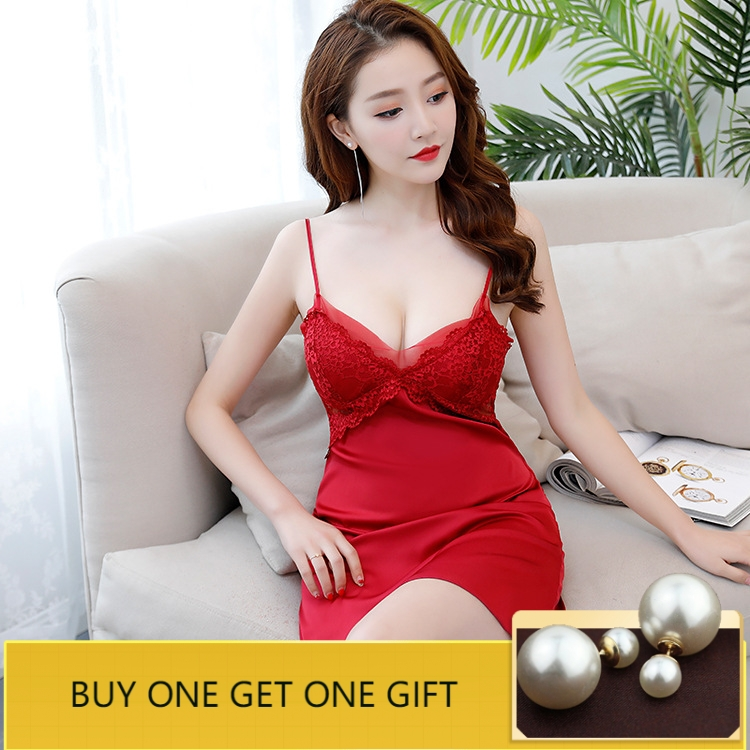 Lace Sleep Lounge Sexy Nightgowns & Sleepshirts with Chest Pads Satin Sleepwear Silk Night Dress Summer Indoor Clothing Lingerie