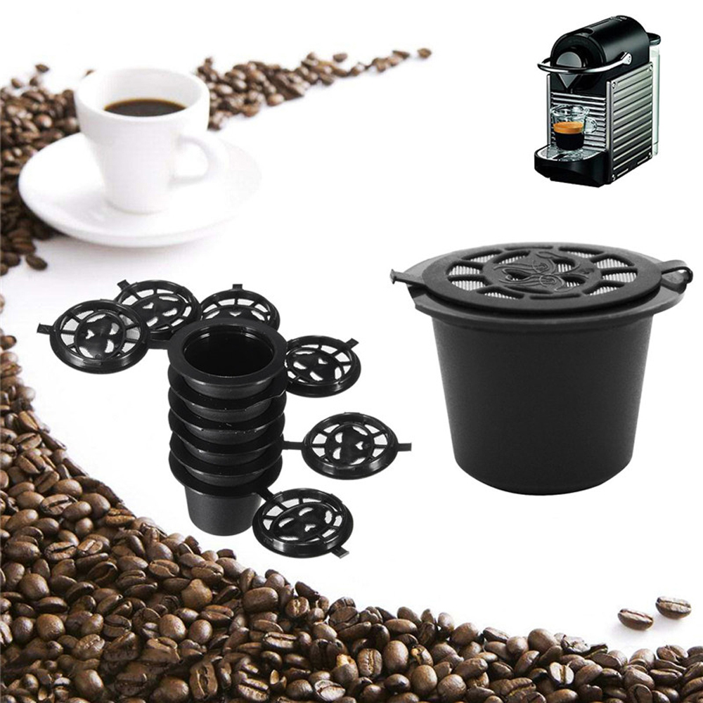 6PCS Black Refillable Coffee Capsula Refilling Filter Pod Reusable Nespresso Coffee Capsules Cup Spoon Brush Set Coffeeware Gift