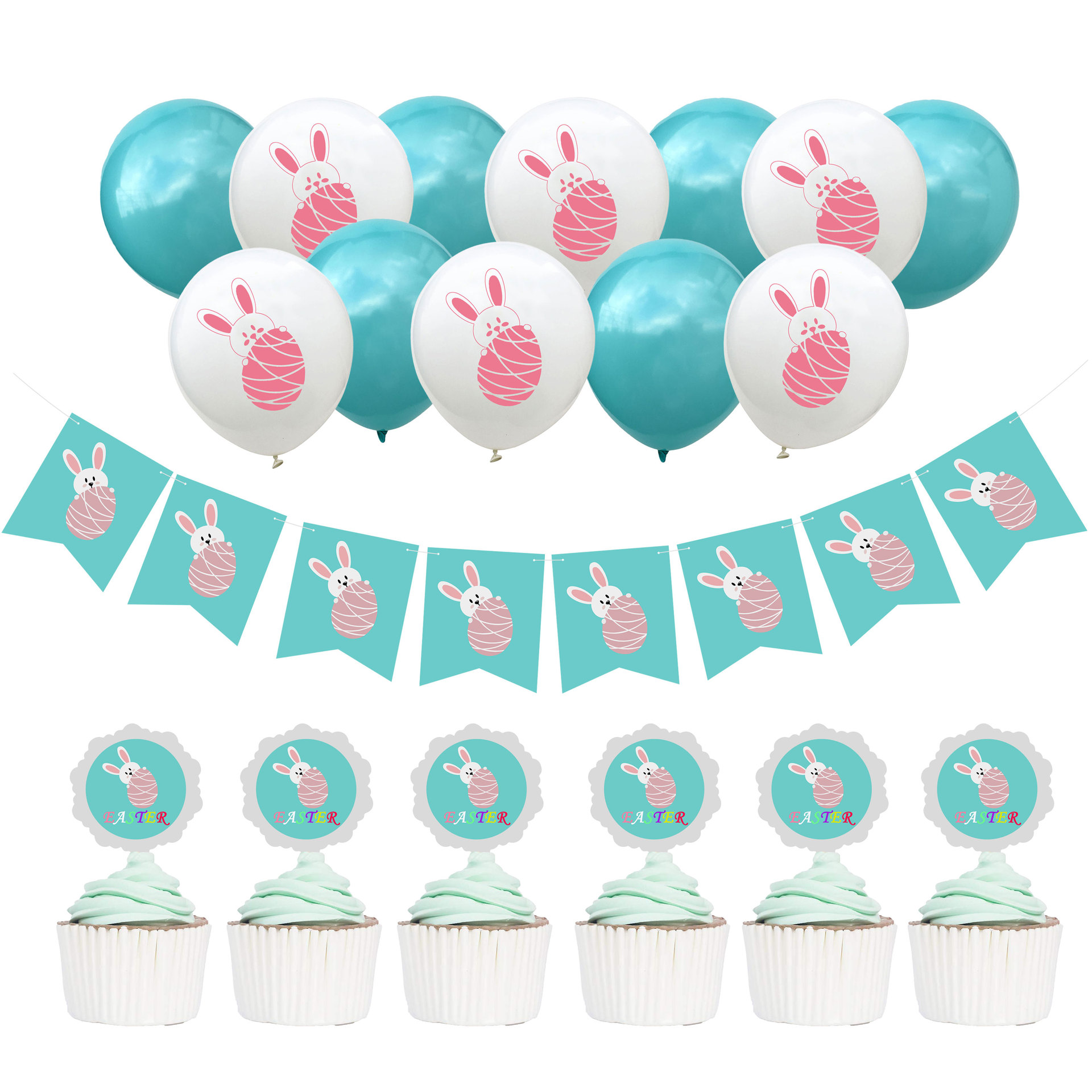 Us 1 79 Zljq Happy Easter Bunny Latex Balloon Rabbit Banner Baby Shower Boy Birthday Party Decorations Kids Cake Topper Wedding Favor 7j In Ballons