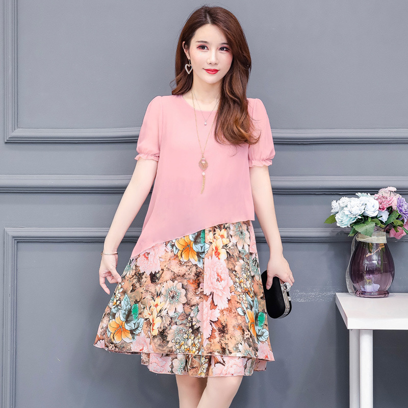 Plus Size L 5XL Summer Women Floral Print Chiffon Dresses Elegant O neck Short Sleeve Party Dress Vestidos De Fiesta in Dresses from Women 39 s Clothing