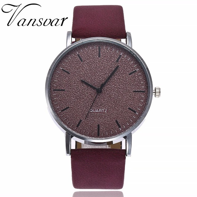Best Selling Fashion Women Leather Quartz Analog Watch Casual Vansvar Brand Luxu