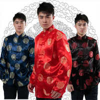 Red Long Sleeve Groom Toast Clothing Chinese Dress Dragon Men Satin  Cheongsam Top Costume Tang Suit Wedding Traditional Gown