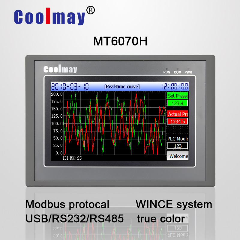 Coolmay MT6070H-W 7 inch TFT true color 800*480 Pixels HMI touch panel with Ethernet port