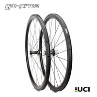 High End 700c Carbon Road Bicycle Wheelset Tubeless / Clincher / Tubular With White Industries T11 Hub And Sapim CX Ray Spoke