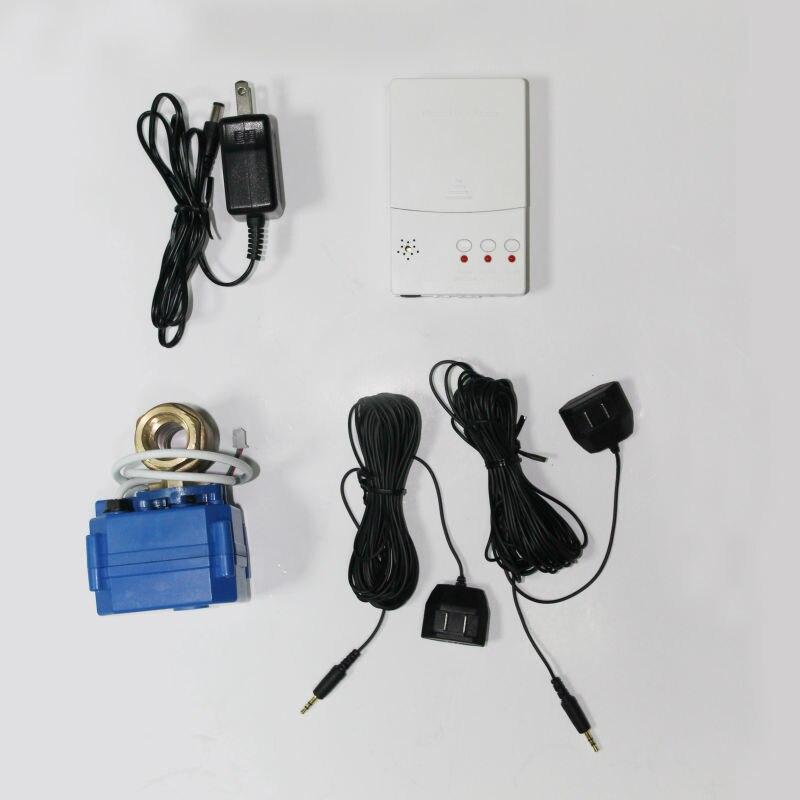 HIDAKA WLD-807 home sistema de segurança alarme detector de vazamento de água com 1 ''DN25 Auto shut off válvula BSP NPT UE plugue DOS EUA (DN25*1 pcs)