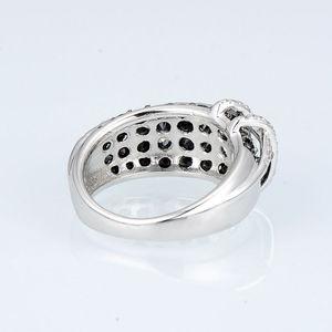 Image 4 - SANTUZZA gümüş yüzük kadınlar için 925 ayar gümüş en kaliteli AAA + kübik zirkonya doğal siyah taş yüzük moda takı