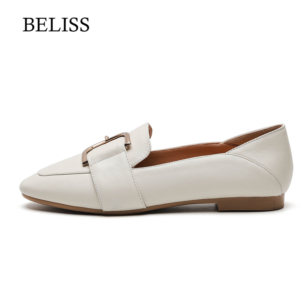 BELISS Genuine Leather Ladies Flats Shoes Slip On Women Loafers New Arrival Metal Decoration Spring Autumn Flats Shoes Woman P27