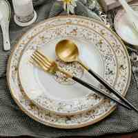 2pcs/set, 8+10 Inch, Bone China Dinner Set Charger Plates And Dishes, Ceramic Buffet Dishes For Party, Porcelain Plate Party