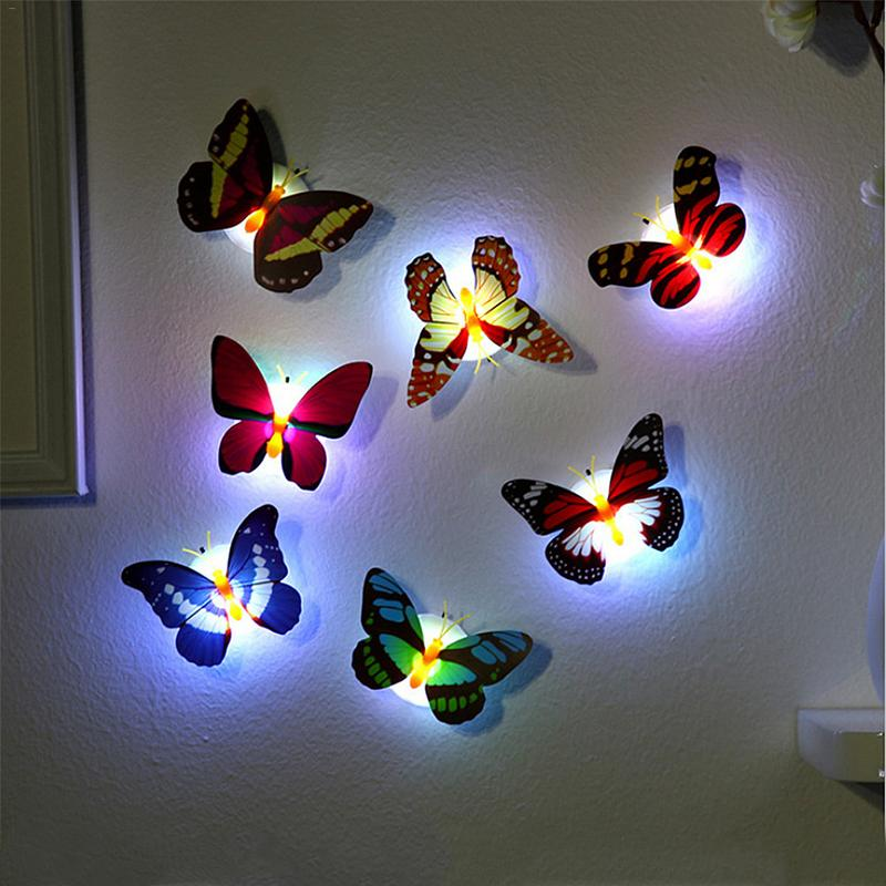 10PCS/lot LED Butterfly Wall lamp Animal Shape Night Light Adhesive Wall Lamps With Suction Pad Colorful Changing Butterfly10PCS/lot LED Butterfly Wall lamp Animal Shape Night Light Adhesive Wall Lamps With Suction Pad Colorful Changing Butterfly