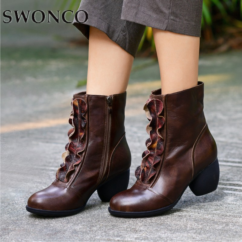 SWONCO Boots Women Genuine Leather Ladies Retro Floral Borders Mid-Calf Boots Autumn For Female 2019 Spring Casual Shoes WomanSWONCO Boots Women Genuine Leather Ladies Retro Floral Borders Mid-Calf Boots Autumn For Female 2019 Spring Casual Shoes Woman