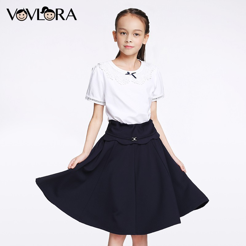 Girls School Skirts Draped Elastic Waist Knitted Kids Skirt Solid Knee Length A Line Children Clothes Size 7 8 9 10 11 12 years