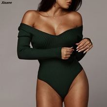 Xnxee Off Shoulder Ribbed Knitted Sexy Bodysuit Women Black V Neck Autumn Slim Rompers Womens Jumpsuit Winter Basic Bodysuits цена