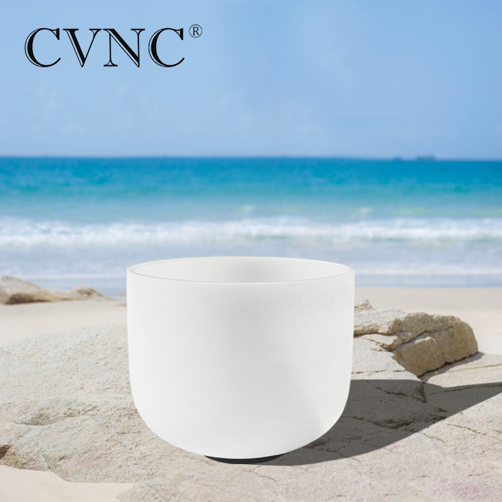 CVNC 12 Inch Note C D F G A Chakra Frosted Quartz Crystal Singing Bowl