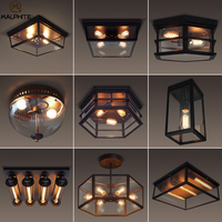 Retro LED Ceiling Lights Industrial Decor Modern Glass Hanging Ceiling Lamp Luminaire Cafe Rectangle Industrial Lighting Fixture