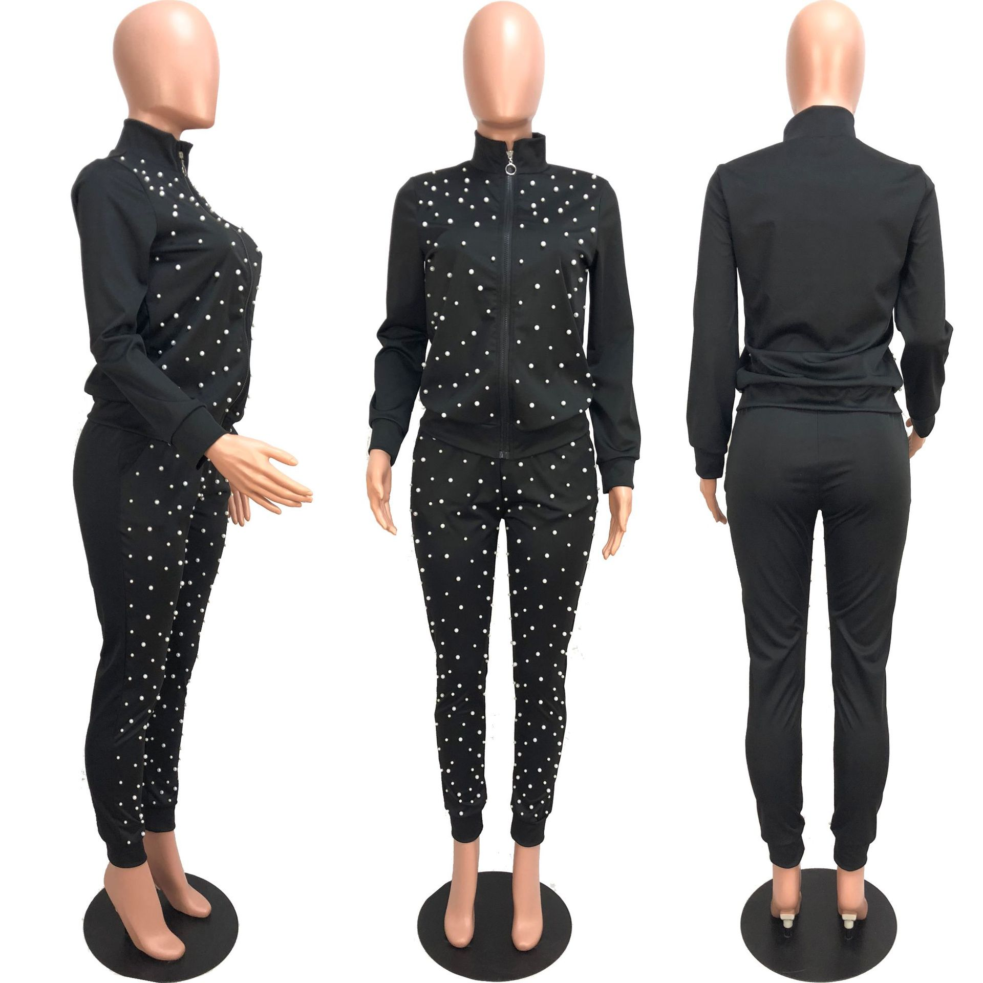 2 Piece Set Tracksuit Women Pearl Bead Zipper Long Sleeve Coat And Long Pants Women 39 s Sets Casual Sportwear Two Piece Set in Women 39 s Sets from Women 39 s Clothing