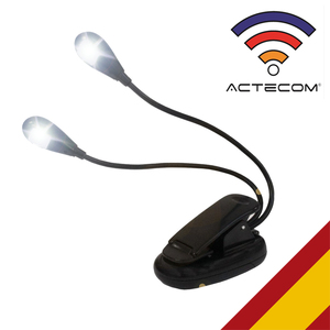 ACTECOM LAMPARA FLEXIBLE LED LUZ DE LECTURA LIBRO CON PINZA CLIP DOBLE CUELLO PARA LECTURA LUZ