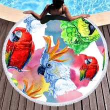 Summer Large Round Beach Towel Parrot Floral Printed Yoga Mat Tapestry Microfiber Bath Circle Tassels Toalla Terry Blanket