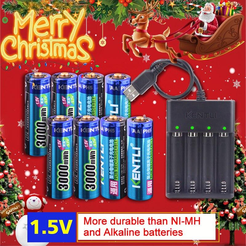 KENTLI 8 шт. 1,5 В в 3000mWh AA перезаряжаемый литий-полимерный литий-ионный полимерный литиевый аккумулятор + 4 слота USB smart charger
