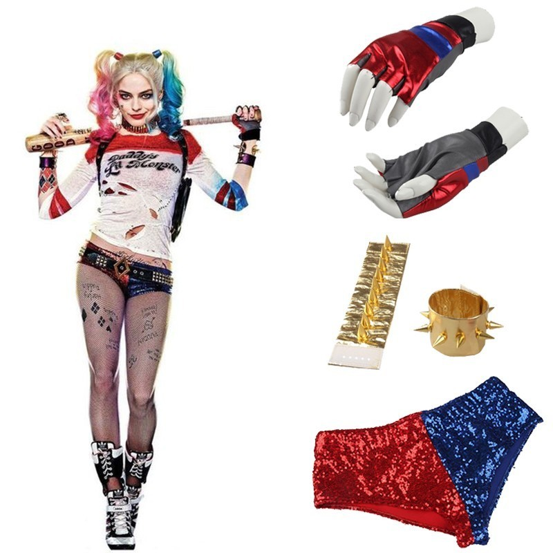 Harley Quinn Cosplay Costume Accessories Movie Suicide Squad Fancy Shirt Shorts Strap Belt Wrister Glove Halloween Cosplay Adult
