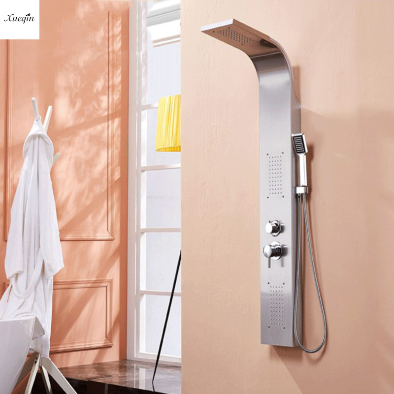 Матовый никель башня душевая колонна душ Панельная башня дождь водопад массажная система тела струйная ванна кран с ручной душевой ванной