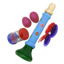 Pack of 4 Fun Musical Educational Toy Set Sand Egg Shakers Rain Maker Trumpet Castanet for Children Kids(China)