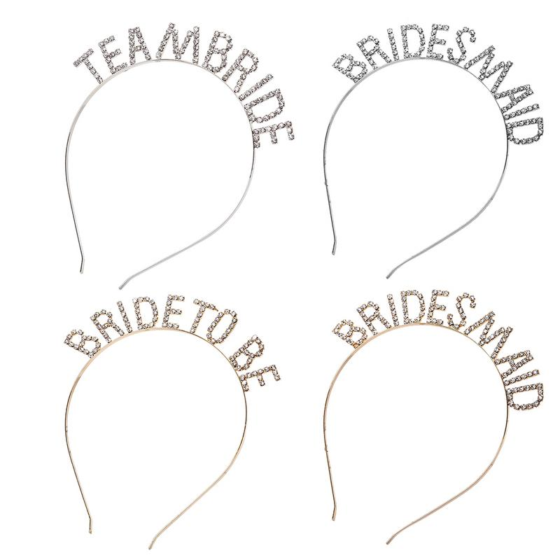 Rhinestone Alphabet Bride Bridesmaid Headdress Crown European And American Wedding Decoration Bachelorette Party Crown in Party Hats from Home Garden