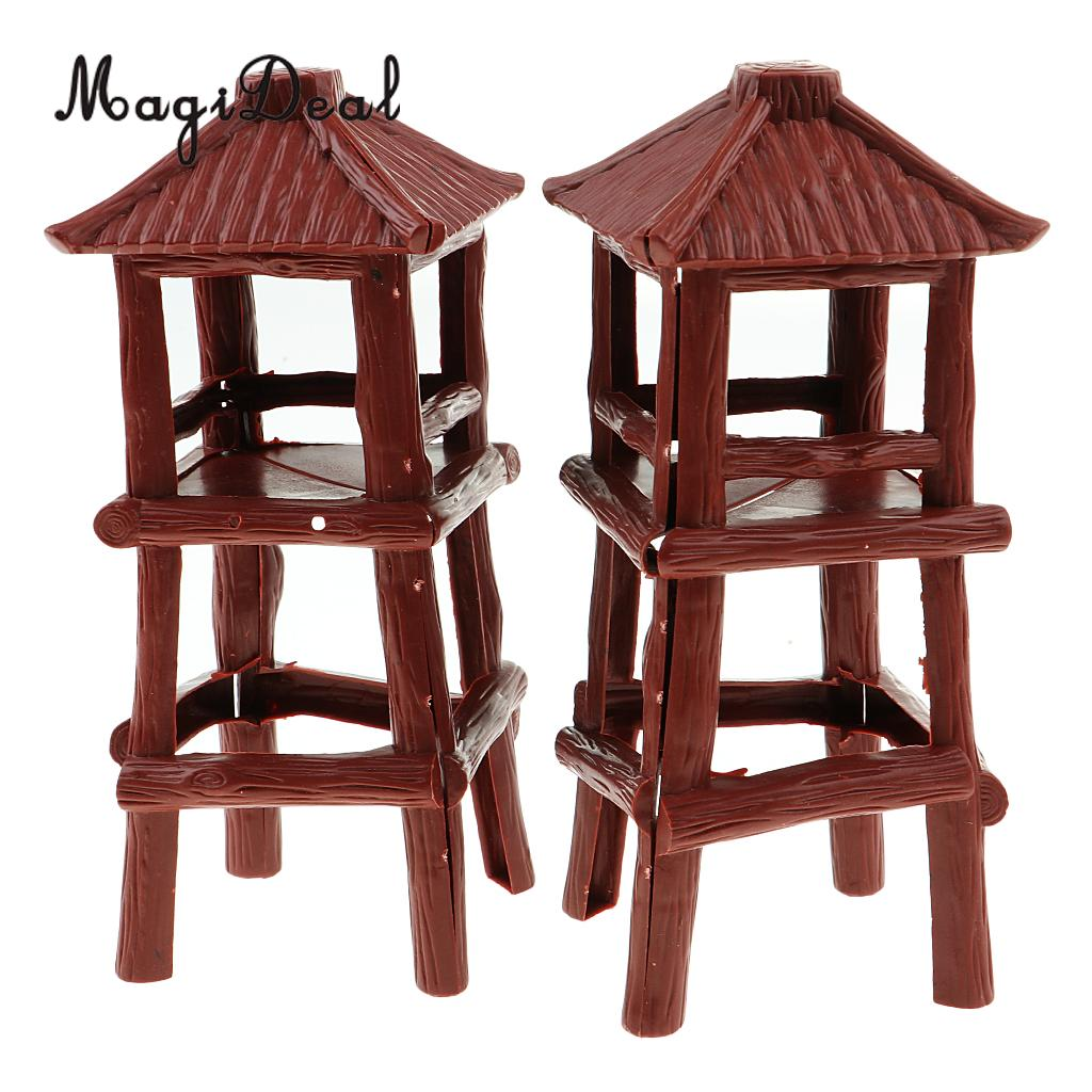 MagiDeal 2 Pieces Military Watch Tower 18.5cm Height Model Soldier Army Men Accessory For Wargame Scenery Building Toy
