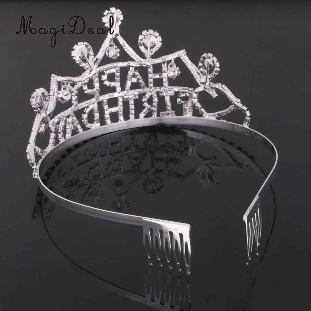 MagiDeal 18th Happy Birthday Rhinestone Headband Party Hats Rose Satin Sash Crystal Hair Crown 18 Today