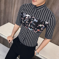 New Pattern Man Printing Summer Casual Men Shirt Thin Shirt Men Slim Fit Half Sleeve Striped Business Dress Shirts Men Design