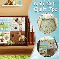 7PCS Baby Bedding Set Cotton Soft Breathable Crib Set cot Include Quilt Bumper Fitted Cover Dust Ruffle