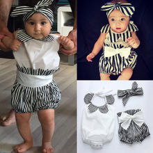3Pcs/Set Summer Child Clothes Tops Romper Striped Shorts Headband Outfits For 0-2 Years Infant Kids Baby Boys Girls YJS
