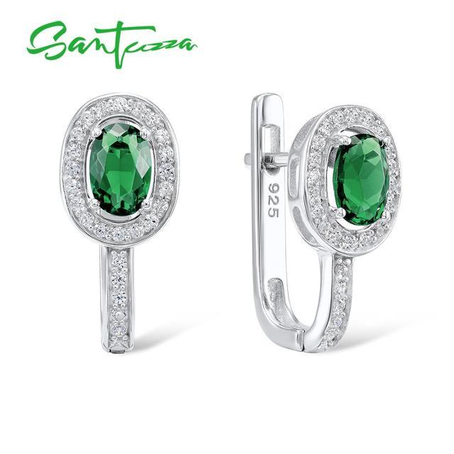 SANTUZZA الفضة أقراط للنساء 925 فضة البيضاوي الأخضر كريستال الأبيض مكعب زركونيا أقراط مجوهرات الأزياء