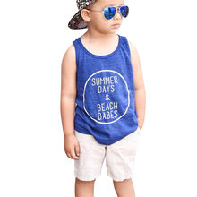 1-4T Toddler Kids Baby Boys Clothes set Summer Cotton Sleeveless Vest Tops Shorts set fashion Beach Playa cool Outfits Set(China)