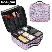 Deanfun 유니콘 메이크업 케이스 다기능 화장품 가방 여행 주최자 기차 케이스 조절 디바이더 16001