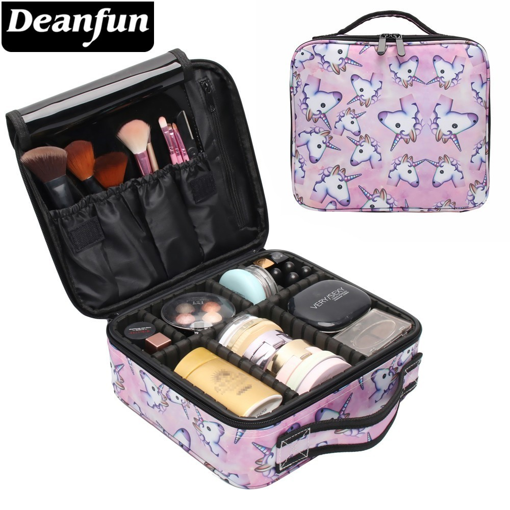 Deanfun Unicorn Makeup Case Multifunctional Cosmetic Bag Travel Organizer Train Cases with Adjustable Dividers 16001-in Cosmetic Bags & Cases from Luggage & Bags