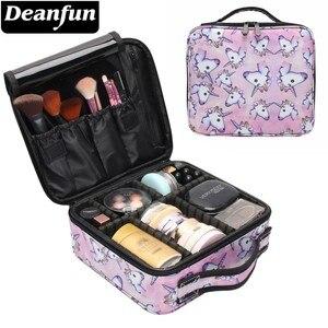 Image 1 - Deanfun trousse de voyage multifonctionnelle licorne étui de maquillage, trousse à cosmétiques, organiseur de voyage avec diviseurs ajustables, 16001