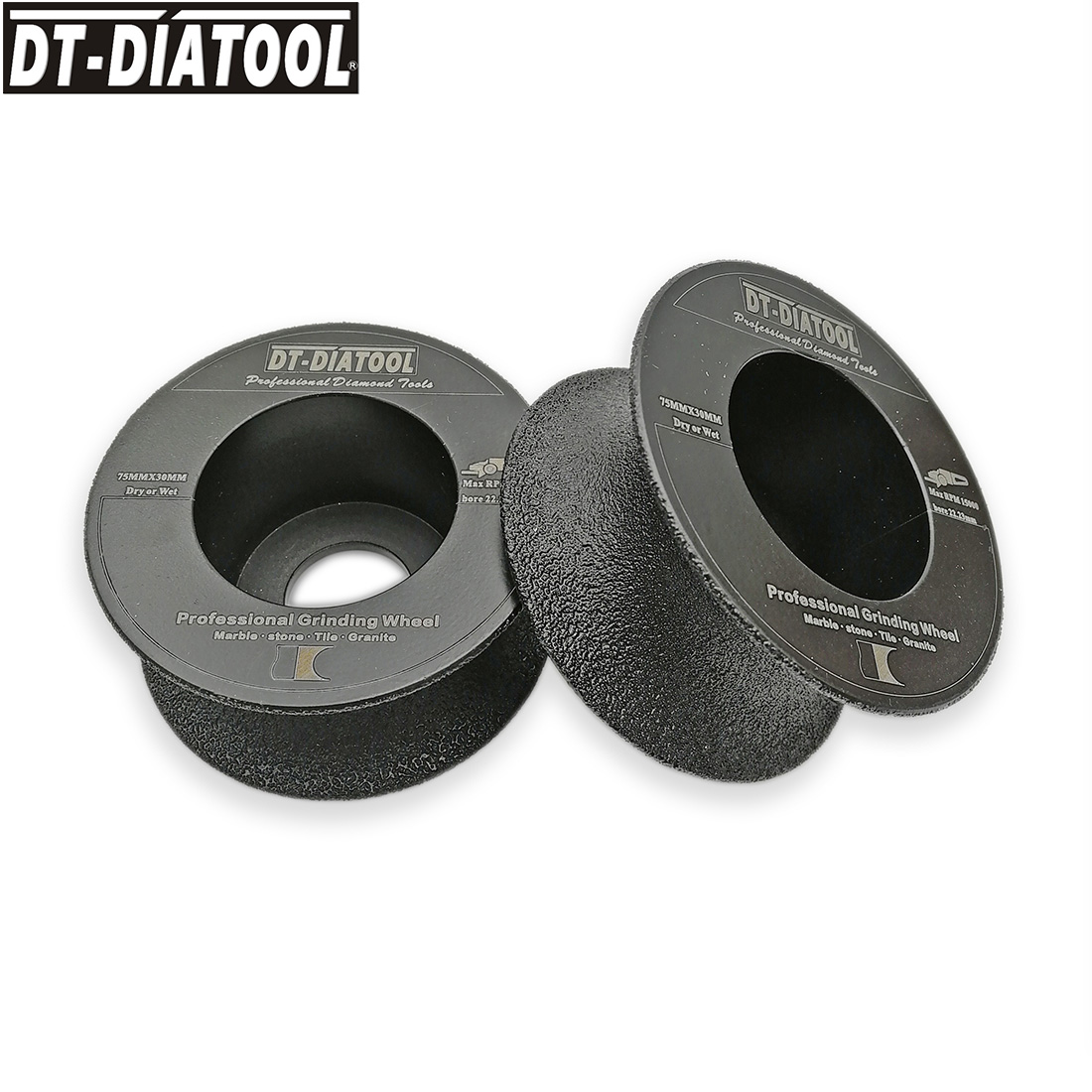 DT DIATOOL 2pcs pk Dia 75mm 3 Wet or Dry Vacuum Brazed Diamond Half Round Edge