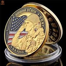 Ww ii 1944.6.6 d-day omaha praia banhado a ouro lembrança cimetiere militar americano desafio moeda coleção