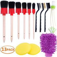 13 Pack Detail Reinigung Pinsel Set Weiche Haar Pinsel/Schwämme/Tücher Für Auto Reinigung Rad Dashboard Innen Außen air Vents