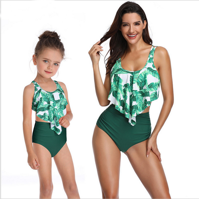 2019 Family Matching Swimwear Mother Daughter Women Kids Girls Floral Green Leaves Printed Bikini Two-Piece Swimwear Suits