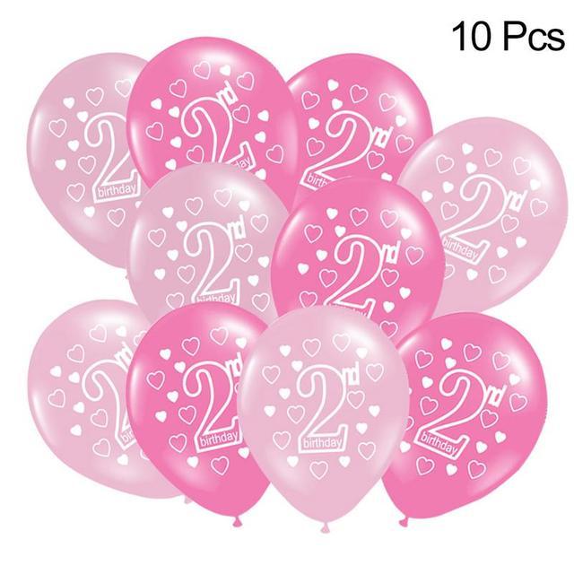 10 PCS Baby Happy Birthday 2 Years Print Birthday Balloon Air Latex
