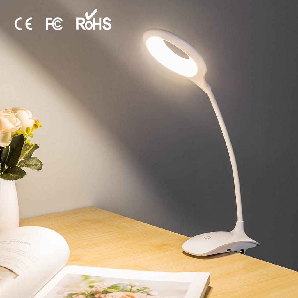 Finether 18 LED Clip Desk Lamp 3 Modes Clip Holder USB Power Led Table Lamp Reading Book Ring Light For Dorm Desktop Bedside