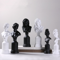 Black White Modern Resin Girls Figurine Home Decor Crafts Room Decoration Objects Vintage Ornament Resin Lady Goddess Statue
