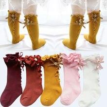 Новинка года, милые мягкие леггинсы для маленьких девочек теплые гольфы средней длины хлопковые мягкие однотонные носки с бантиком и пуговицами