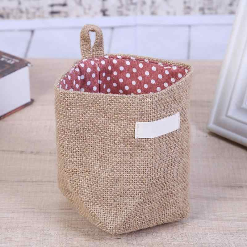 Jute Storage Bag Basket Organizer with Handles for Baby Toys With Handle Hanging In Door Wall Store  Desktop Small Items