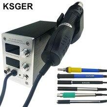 KSGER STM32 OLED T12 Temperatura 2 IN 1 TUTTO IN UNA Pistola Ad Aria Calda Asciugatrice Digitale Ad Alta Eng di Rilavorazione stazione di saldatura del Ferro Maniglia