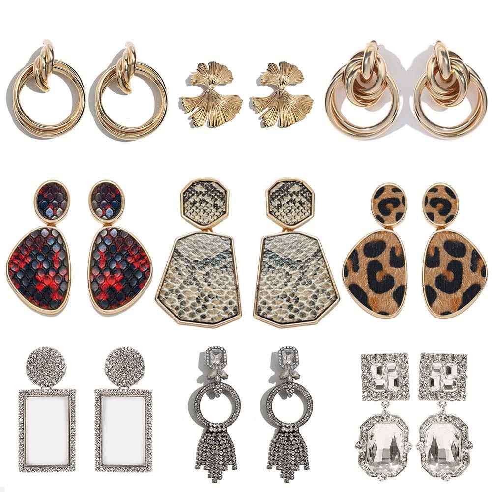 JUST FEEL ZA Geometric Big Dangle Earrings For Women Vintage Leopard Leather Trendy Crystal Long Drop Earring Gold Color Jewelry