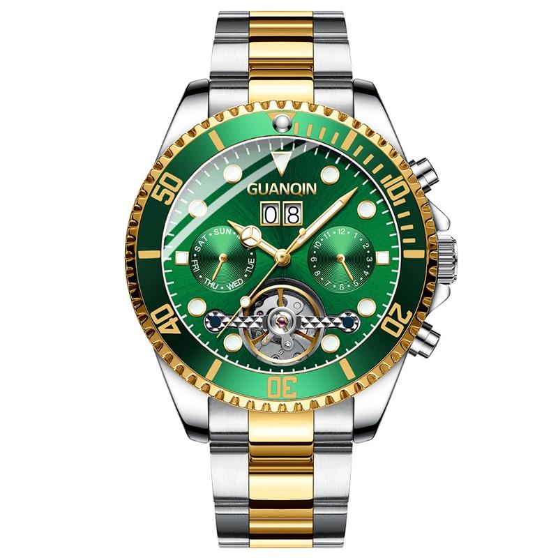 GUANQIN Male Automatic Waterproof Hollow Mechanical Watch Date Display Tourbillon Big Three Needle Mechanical Wristwatches